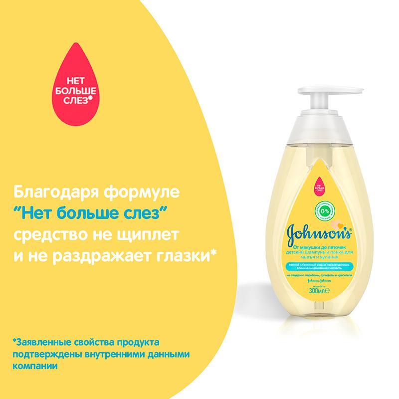 JOHNSON'S® Детский шампунь и пенка для мытья и купания «От макушки до пяточек»