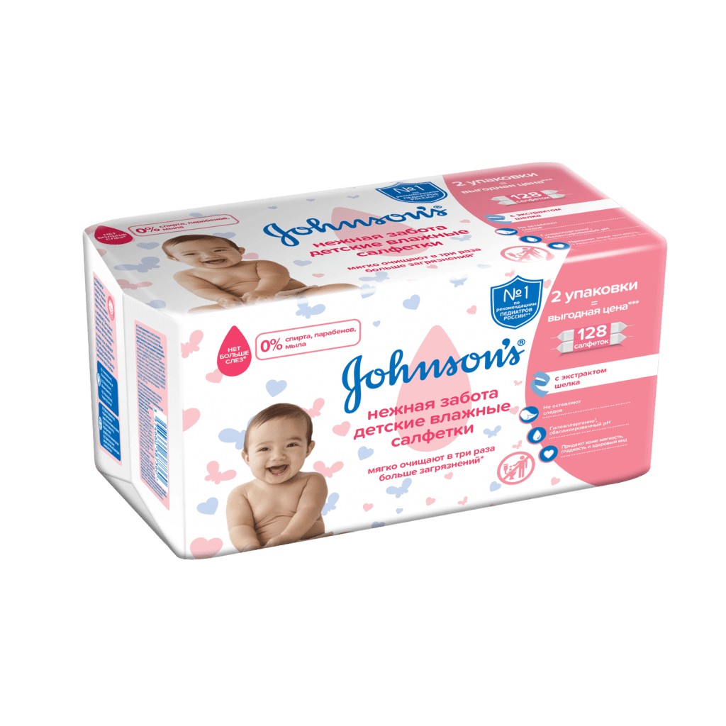Салфетки Johnsons gentle all over wipes 128 шт.